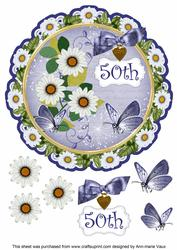 Classic Daisy 50th 8in Doily Decoupage Topper