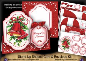 Christmas Bells Thinking of You Fancy Stand Up Card Kit