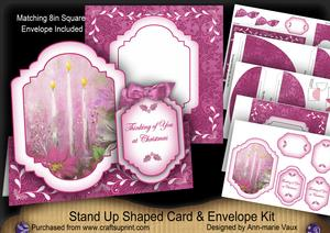 Cerise Candle Trio Thinking of You Fancy Stand Up Card Kit