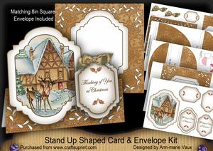 Reindeer House Thinking of You Fancy Stand Up Card Kit