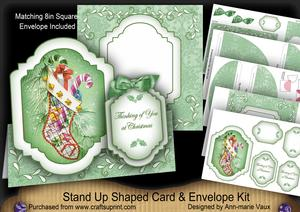 Christmas Stocking Thinking of You Fancy Stand Up Card Kit