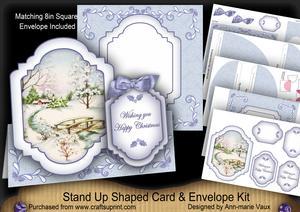Blue Snowscene Happy Christmas Fancy Stand Up Card Kit