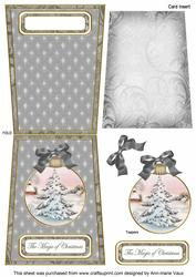 Snow Tree Magic 5.5inch Bauble Decoupage Card