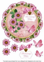 Pink Daisy Anniversary Wishes 8in Doily Decoupage Topper