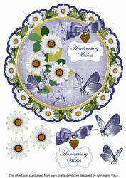 Classic Daisy Anniversary Wishes 8in Doily Decoupage Topper