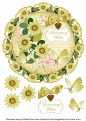 Lemon Daisy Anniversary Wishes 8in Doily Decoupage Topper