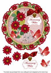 Red Daisy Anniversary Wishes 8in Doily Decoupage Topper