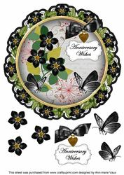 Black Fmk Anniversary Wishes 8in Doily Decoupage Topper
