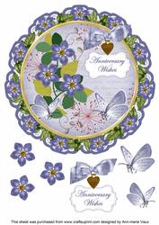 Blue Fmk Anniversary Wishes 8in Doily Decoupage Topper