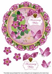 Cerise Fmk Anniversary Wishes 8in Doily Decoupage Topper
