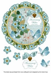 Dusky Teal Fmk Anniversary Wishes 8in Doily Decoupage Topper