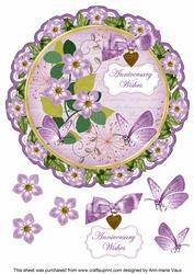 Lilac Fmk Anniversary Wishes 8in Doily Decoupage Topper
