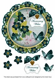 Peacock Fmk Anniversary Wishes 8in Doily Decoupage Topper