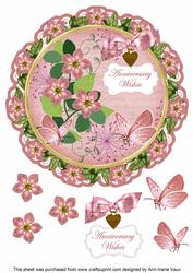 Pink Fmk Anniversary Wishes 8in Doily Decoupage Topper