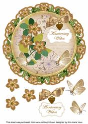 Vintage Teafmk Anniversary Wishes 8in Doily Decoupage Topper
