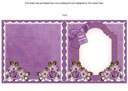 Lavender View Happy Anniversary to Fit 6in Folded Insert