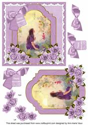 Lavender Fairy Happy Anniversary 6in Floral Step by Step