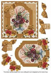 Pansies Happy Anniversary 6in Floral Step by Step