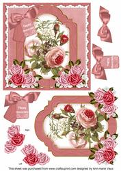 Pink Rose Happy Anniversary 6in Floral Step by Step