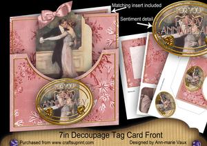 Dancing Couple Happy Anniversary 7in Tag Card Front Mini Kit