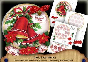Red Bells Christmas Wishes Circle Easel Card Mini Kit