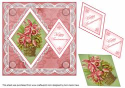 Pink Bouquet Happy Anniversary 7in Double Diamond Topper