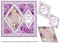 Lilac Music Happy Anniversary 7in Double Diamond Topper