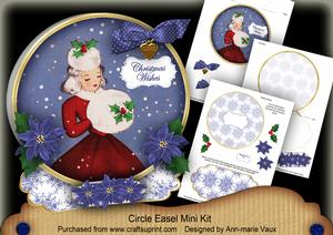 Winter Lady Christmas Wishes Circle Easel Card Mini Kit