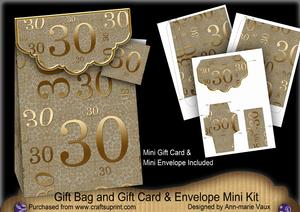 Gold 30 Birthday Gift Bag Mini Kit with Gift Card & Envelope