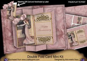 Dancing Couple Happy Anniversary Double Fold 3D Card Minikit