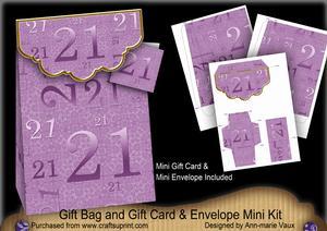 Lilac Birthday 21 Gift Bag Mini Kit & Gift Card & Envelope