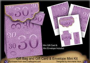 Lilac Birthday 30 Gift Bag Mini Kit & Gift Card & Envelope