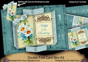Daisy 21st Birthday Double Fold 3D Card Mini Kit