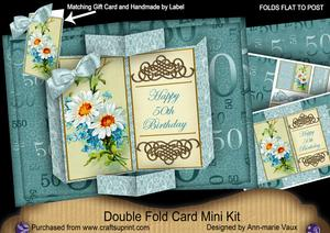 Daisy 50th Birthday Double Fold 3D Card Mini Kit