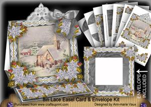 Christmas Day Lace Top Easel Card & Envelope Kit