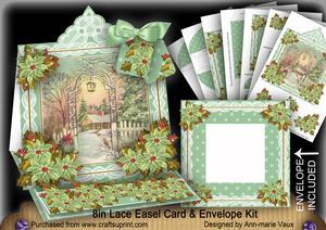 Winter Garden Lace Top Easel Card & Envelope Kit