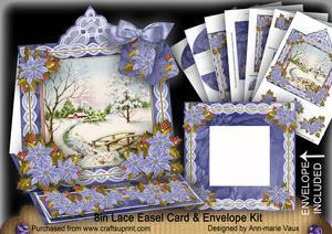 Snowscene Lace Top Easel Card & Envelope Kit