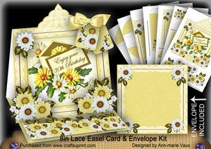 Daisy Happy 30th Lace Top Easel Card & Envelope Kit