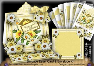 Daisy Happy 50th Lace Top Easel Card & Envelope Kit
