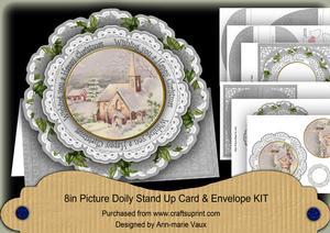 Church Happy Christmas 3D Picture Doily Card & Envelope Kit