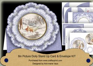 Snowdeer Happy Christmas 3dpicture Doily Card & Envelope Kit