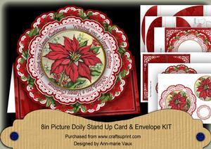 Poinsettia Christmas 3D Picture Doily Card & Envelope Kit