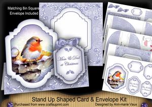 Blue Robin Mum & Dad at Christmas Fancy Stand Up Kit