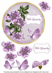Lilac Wild Rose Sympathy 7in Circle Decoupage Topper