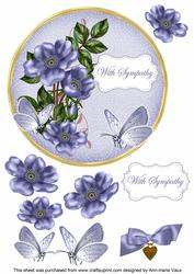 Blue Wild Rose Sympathy 7in Circle Decoupage Topper