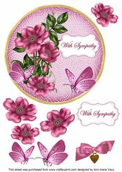 Cerise Wild Rose Sympathy 7in Circle Decoupage Topper