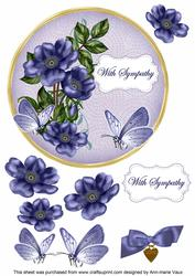 Dblue Wild Rose Sympathy 7in Circle Decoupage Topper