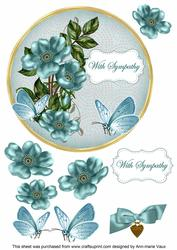 Dteal Wild Rose Sympathy 7in Circle Decoupage Topper
