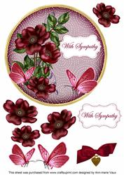 Hot Pink Wild Rose Sympathy 7in Circle Decoupage Topper