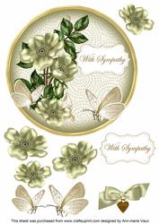 Olive Wild Rose Sympathy 7in Circle Decoupage Topper